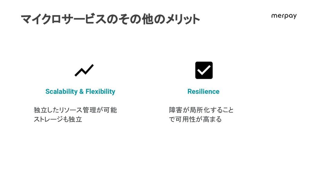 マイクロサービス そ 他 メリット Resilience 障害が局所化すること で可用性が高ま...