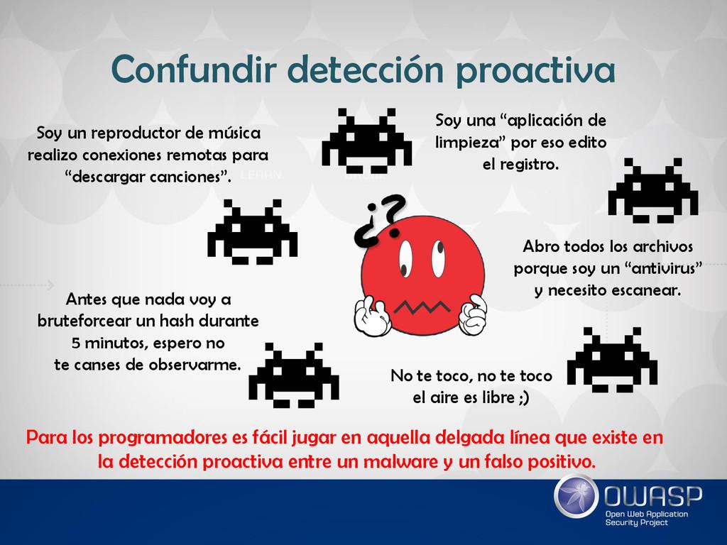 Confundir detección proactiva Para los programa...