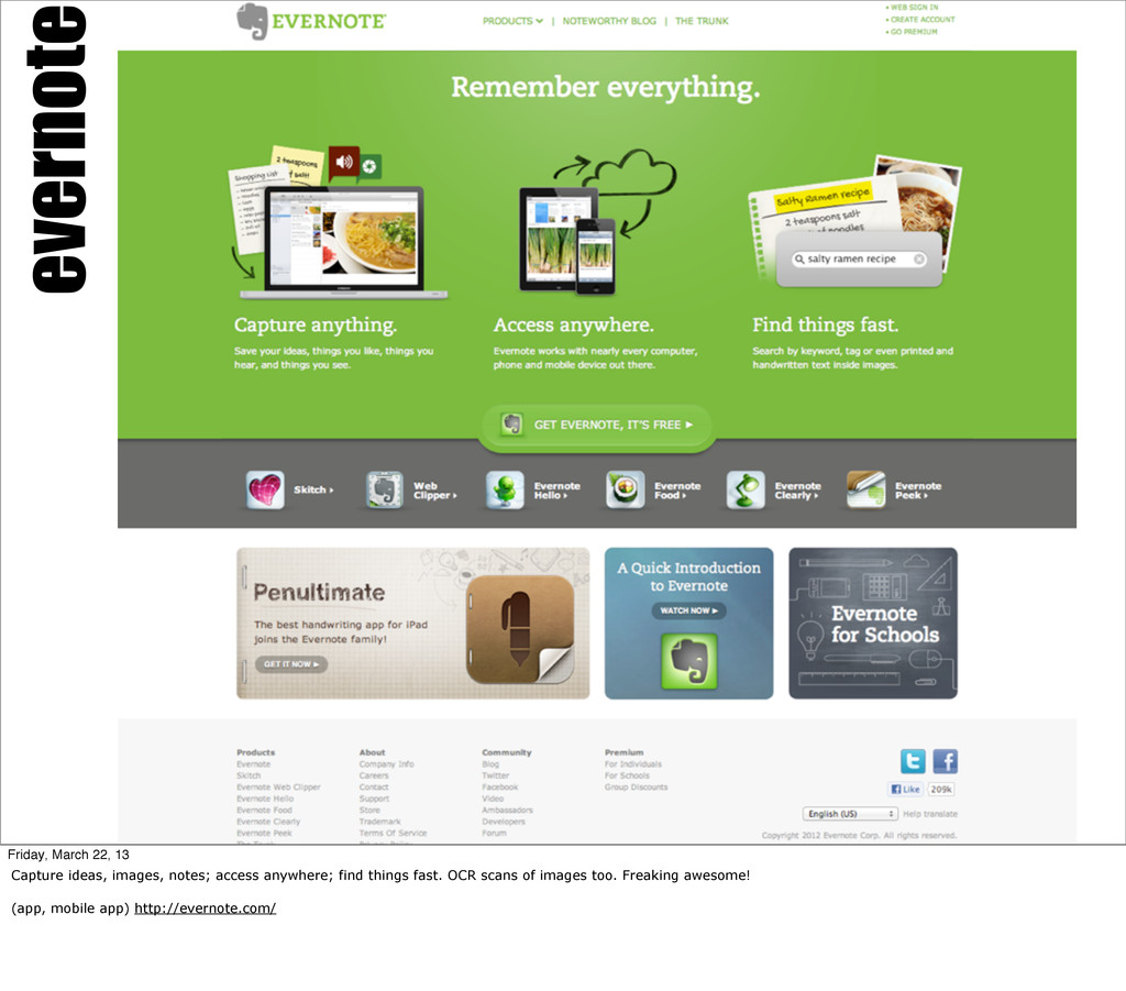 evernote Friday, March 22, 13 Capture ideas, im...