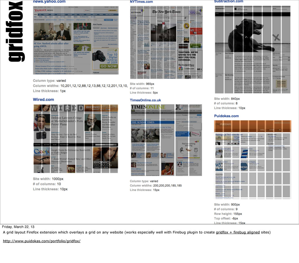 gridfox Friday, March 22, 13 A grid layout Fire...