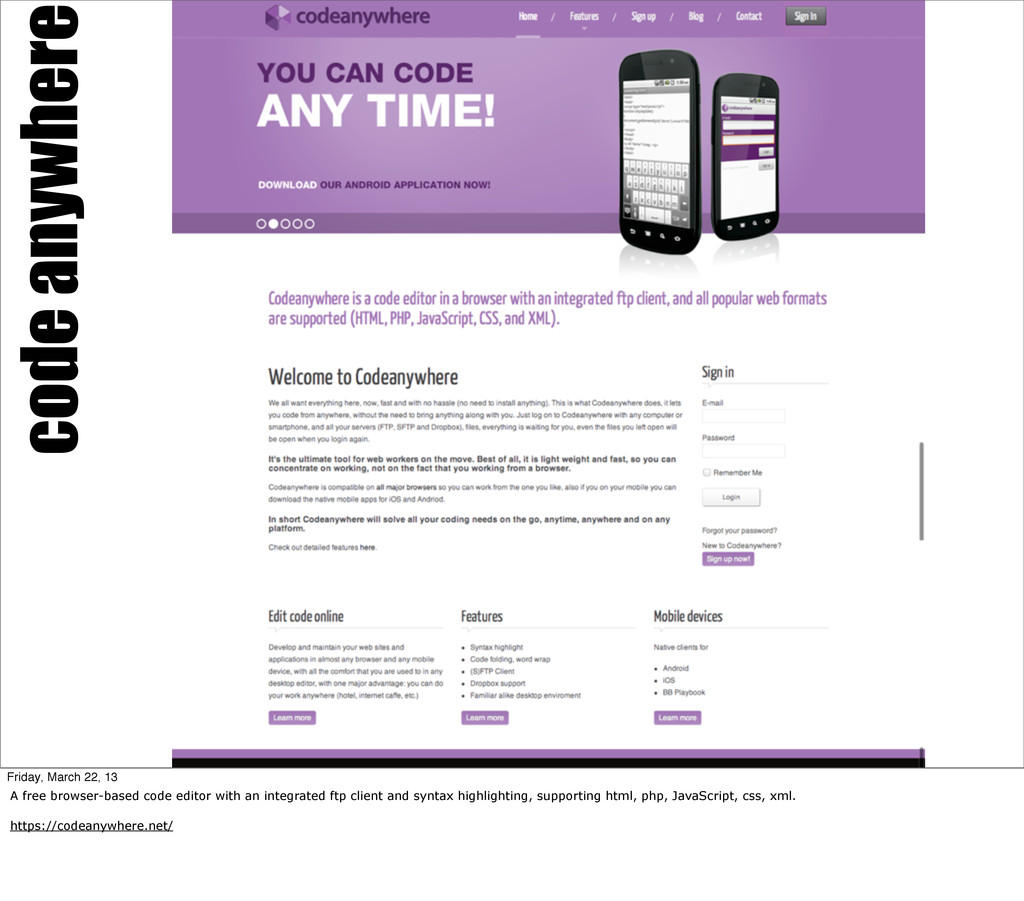 code anywhere Friday, March 22, 13 A free brows...