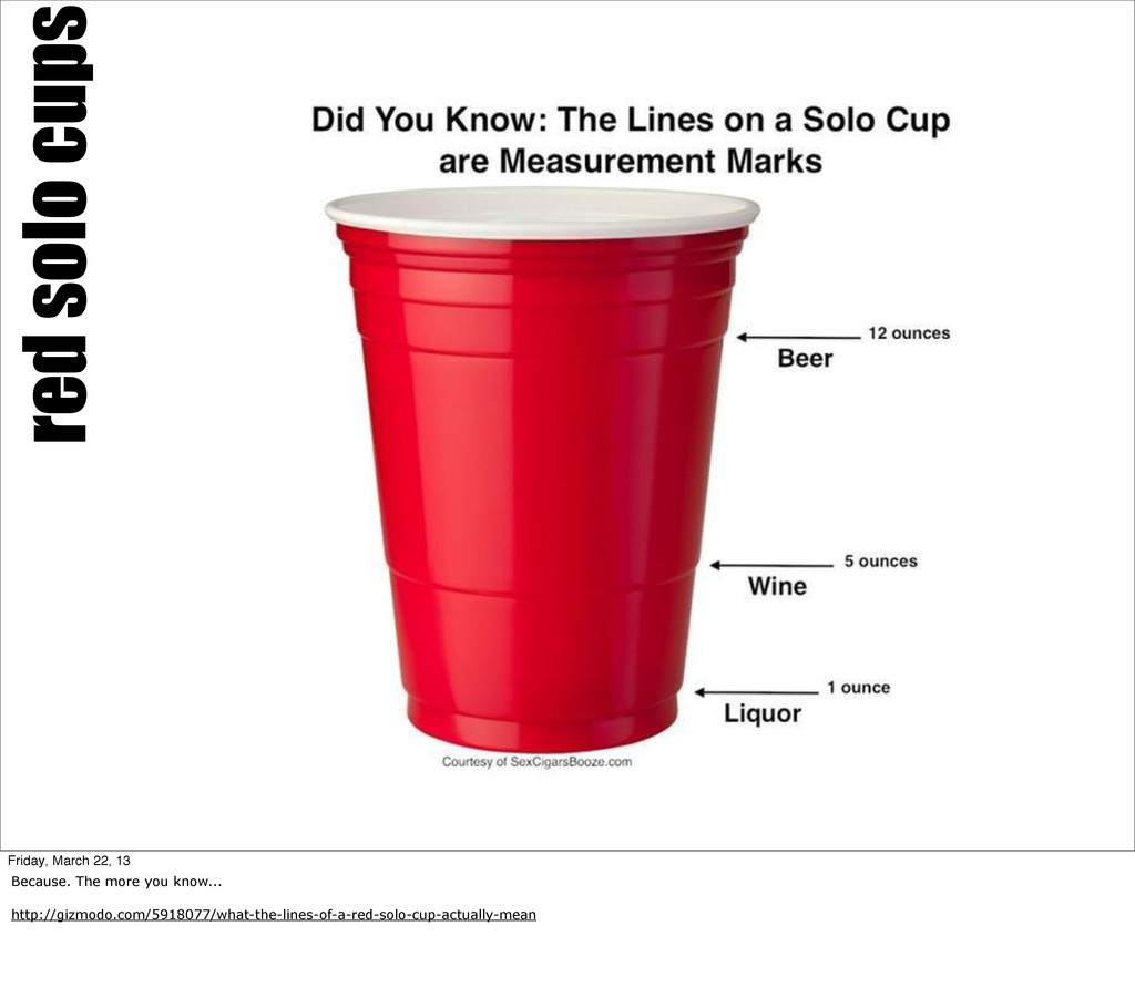 red solo cups Friday, March 22, 13 Because. The...