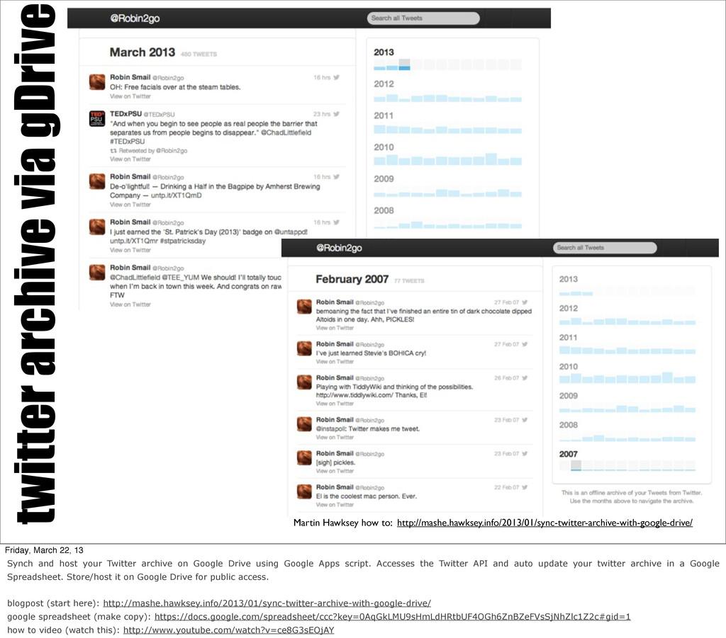 twitter archive via gDrive Martin Hawksey how t...