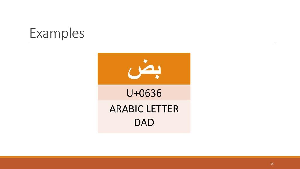 Examples 14 ضب U+0636 ARABIC LETTER DAD