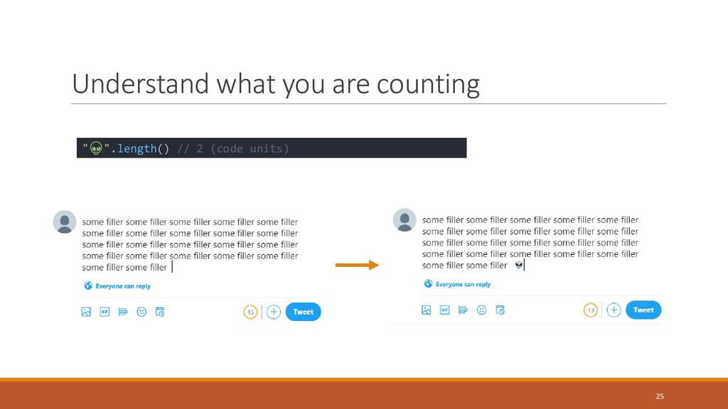 """Understand what you are counting 25 """""""".length()..."""