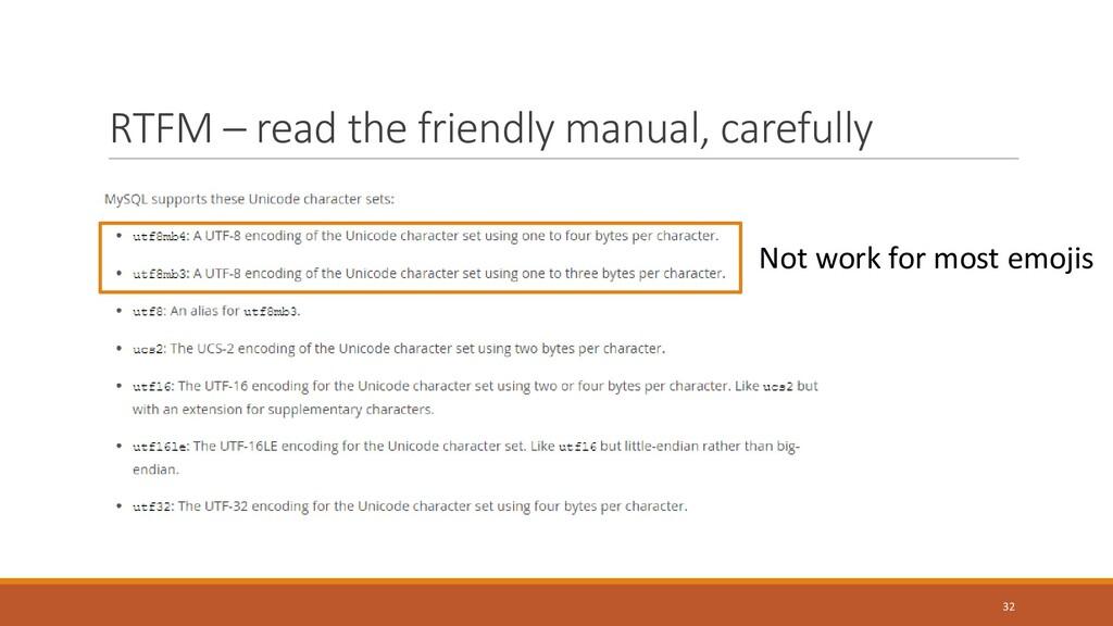 RTFM – read the friendly manual, carefully 32 N...