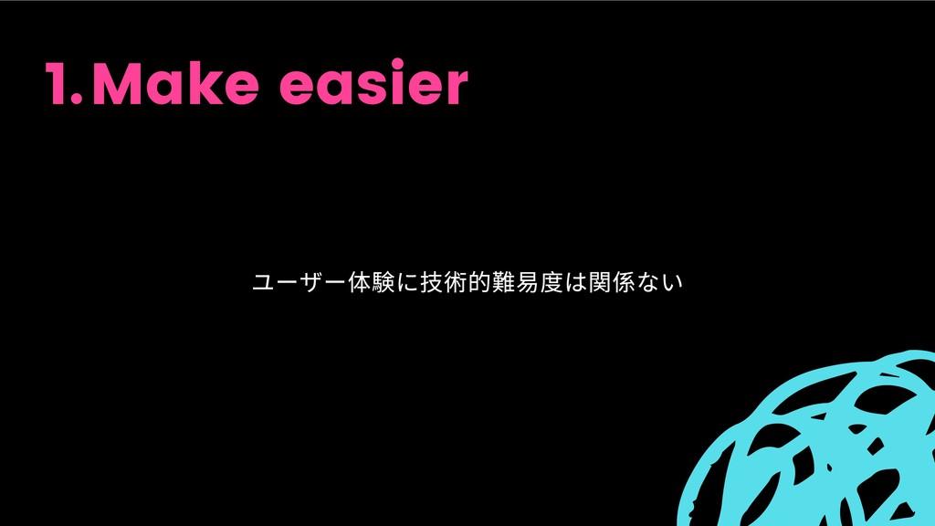 Make easier 1. ユーザー体験に技術的難易度は関係ない