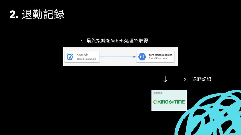 ↓ 2. 退勤記録 1. 最終接続をBatch 処理で取得 2. 退勤記録