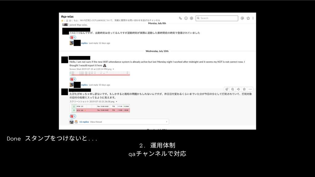 2. 運⽤体制 qa チャンネルで対応 Done スタンプをつけないと...