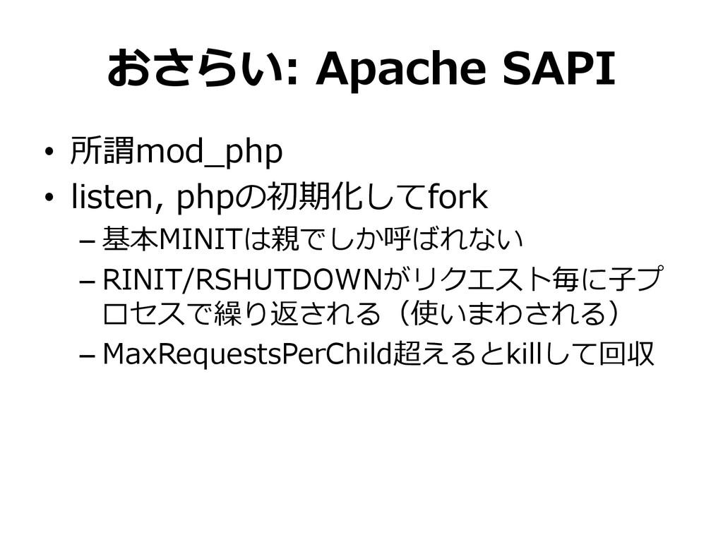おさらい: Apache SAPI • 所謂mod_̲php • listen, p...