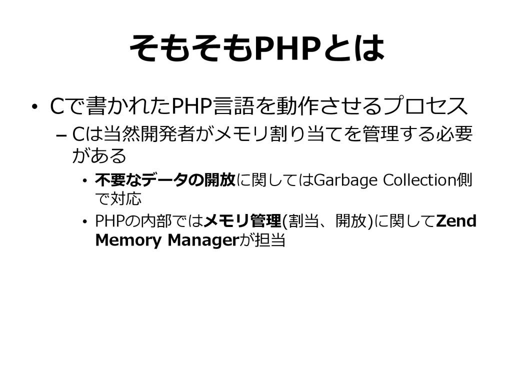 そもそもPHPとは • Cで書かれたPHP⾔言語を動作させるプロセス – Cは当然開発者が...