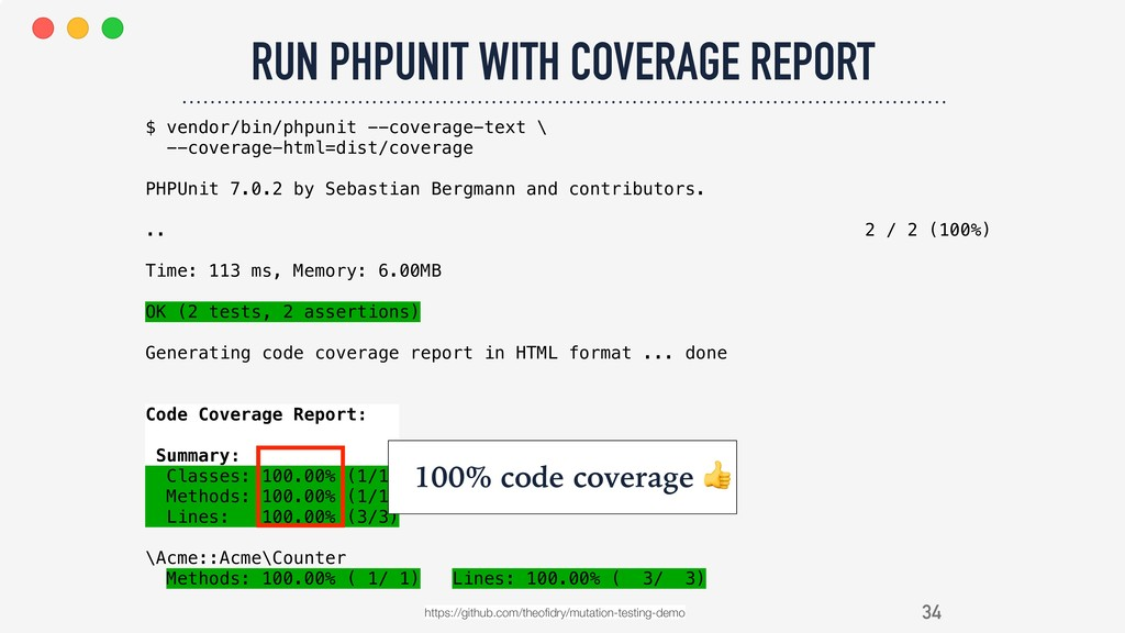 34 RUN PHPUNIT WITH COVERAGE REPORT https://git...