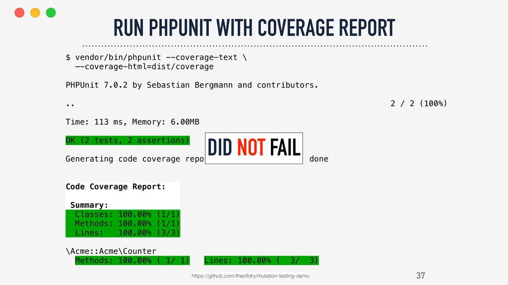 37 RUN PHPUNIT WITH COVERAGE REPORT https://git...