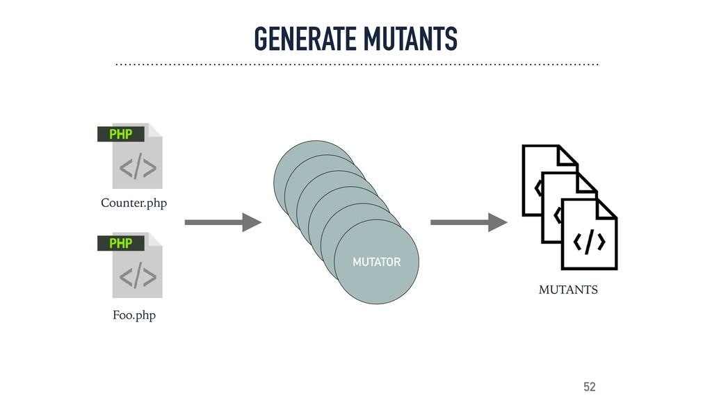 GENERATE MUTANTS 52 Counter.php Foo.php MUTATOR...