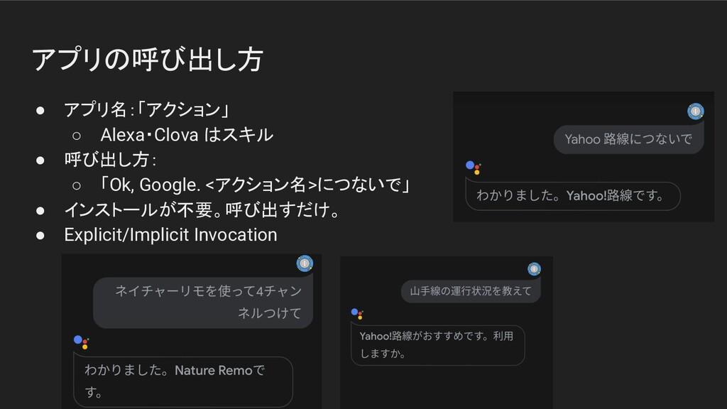 アプリの呼び出し方 ● アプリ名:「アクション」 ○ Alexa・Clova はスキル ● 呼...