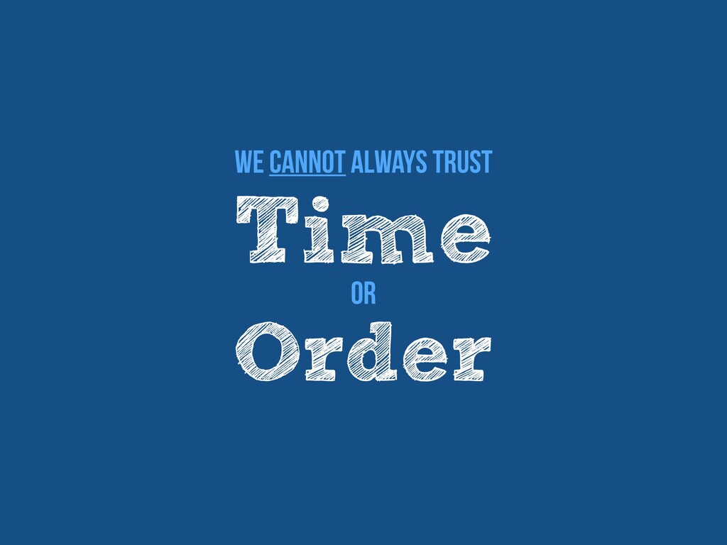 Time We cannot always trust Order Or