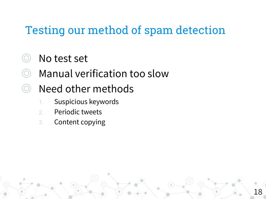 Testing our method of spam detection 18 ◎ No te...