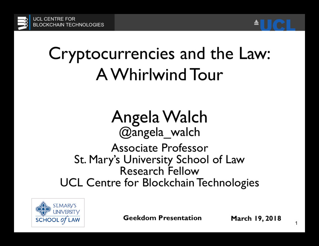 Cryptocurrencies and the Law: A Whirlwind Tour ...
