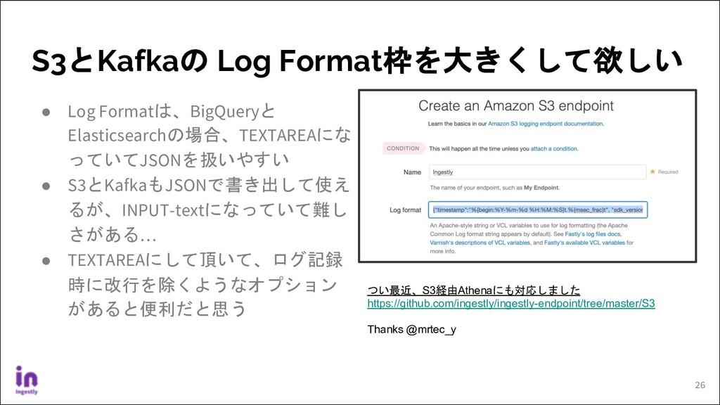 S3とKafkaの Log Format枠を大きくして欲しい ● Log Formatは、Bi...