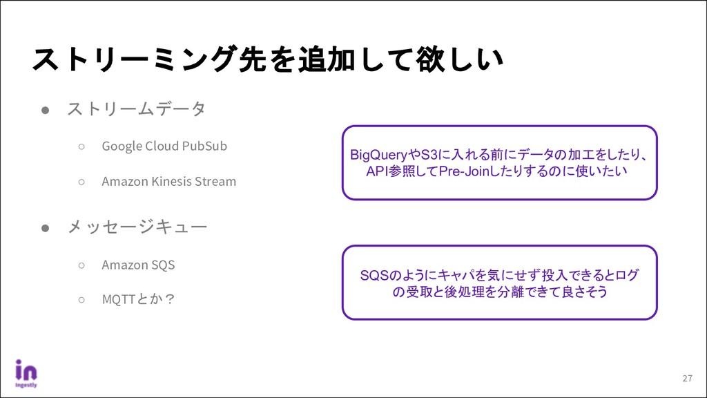ストリーミング先を追加して欲しい ● ストリームデータ ○ Google Cloud PubS...