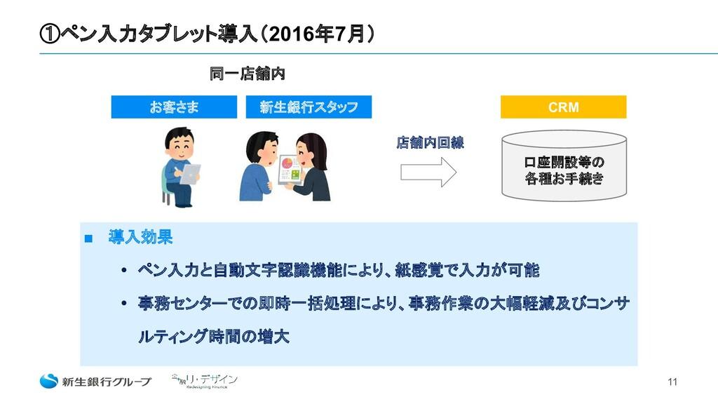 ①ペン入力タブレット導入(2016年7月) 11 ■ 導入効果 • ペン入力と自動文字認識機能...