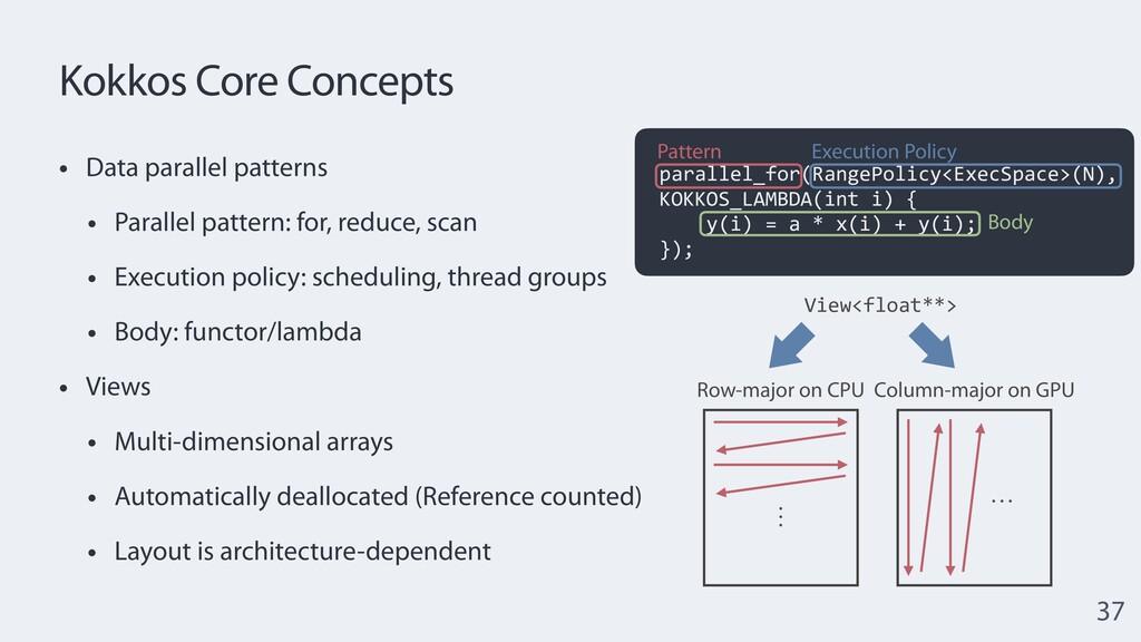 Kokkos Core Concepts • Data parallel patterns  ...
