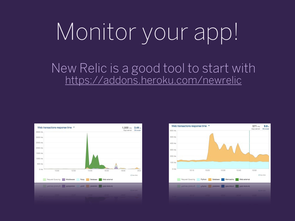 Monitor your app! New Relic is a good tool to s...