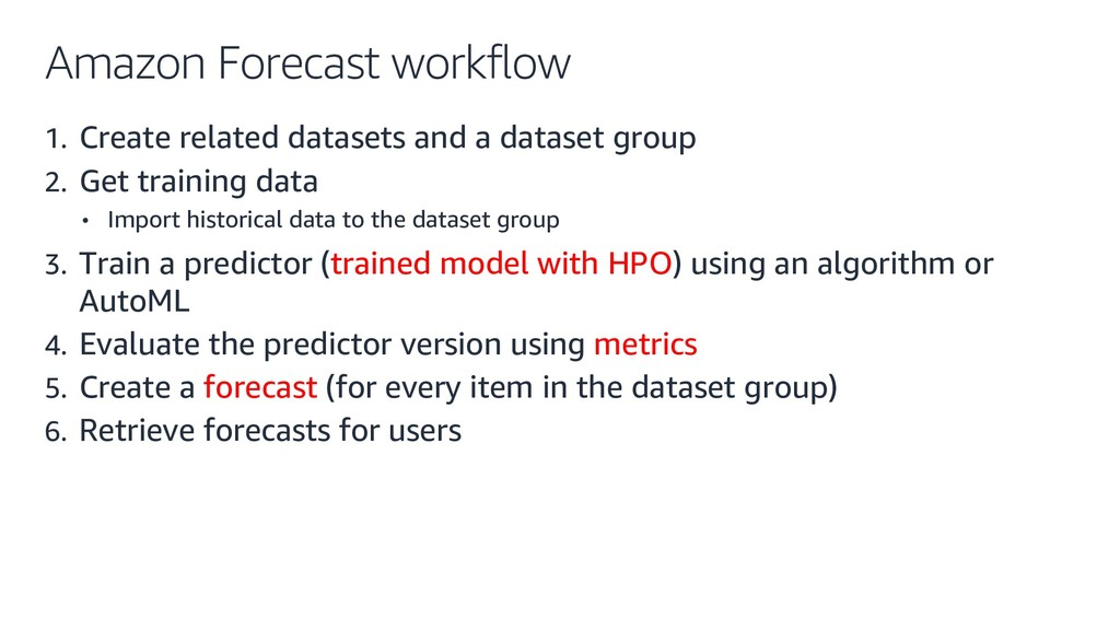 Amazon Forecast workflow 1. Create related data...