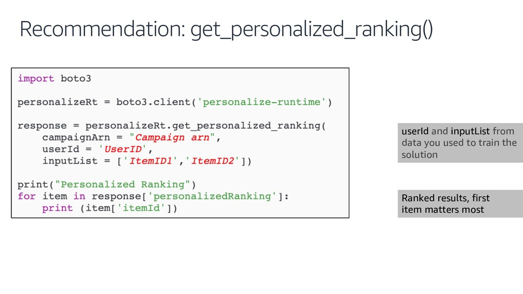 Recommendation: get_personalized_ranking() user...