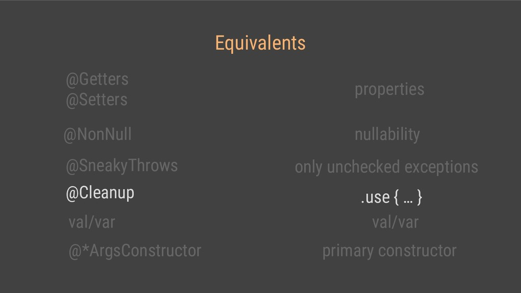 Equivalents @Getters @Setters properties @NonNu...
