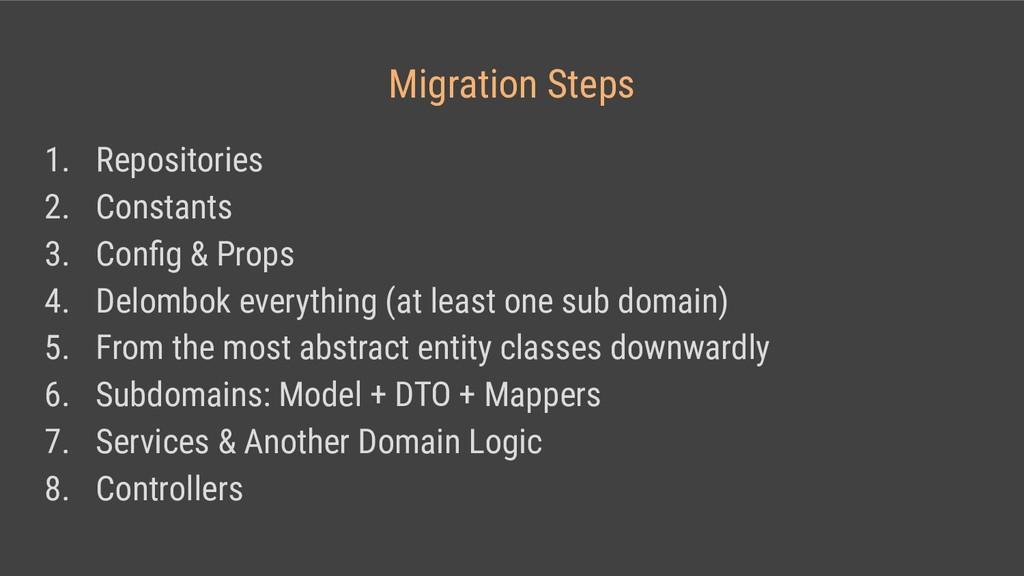 Migration Steps 1. Repositories 2. Constants 3....