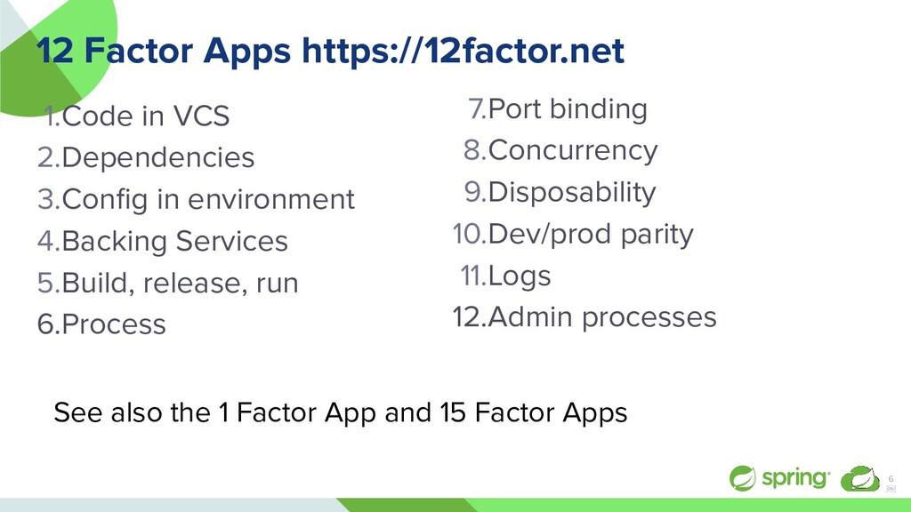 12 Factor Apps https://12factor.net 1.Code in V...