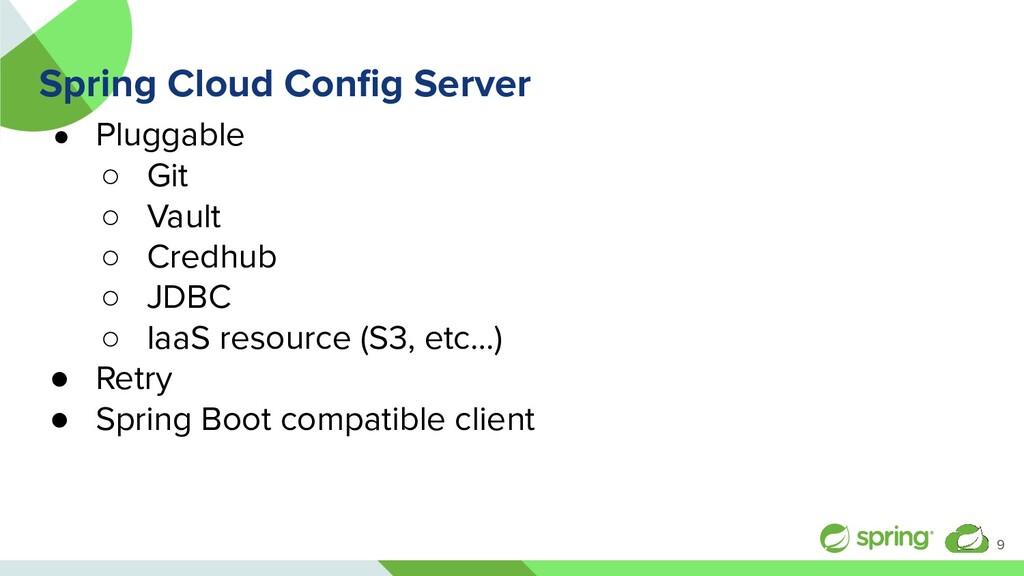Spring Cloud Config Server ● Pluggable ○ Git ○ V...
