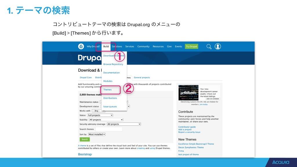 1. ςʔϚͷݕࡧ ίϯτϦϏϡʔτςʔϚͷݕࡧ Drupal.org ͷϝχϡʔͷ [B...