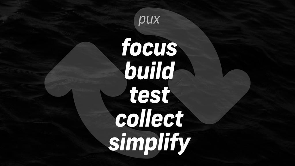 pux focus build test collect simplify