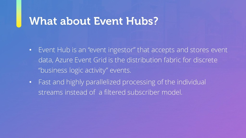 "• Event Hub is an ""event ingestor"" that accepts..."