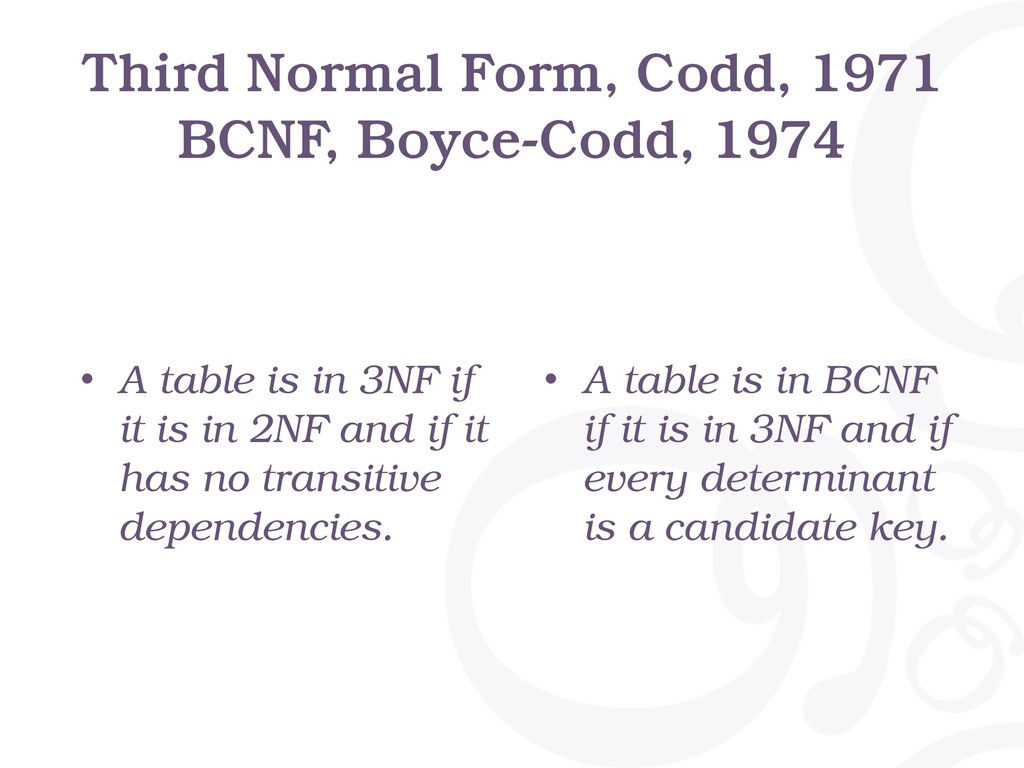 Third Normal Form, Codd, 1971 BCNF, Boyce-Codd,...