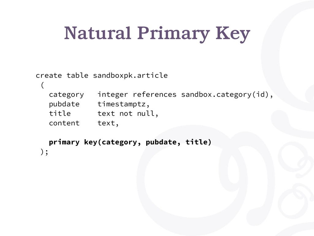 Natural Primary Key create table sandboxpk.arti...