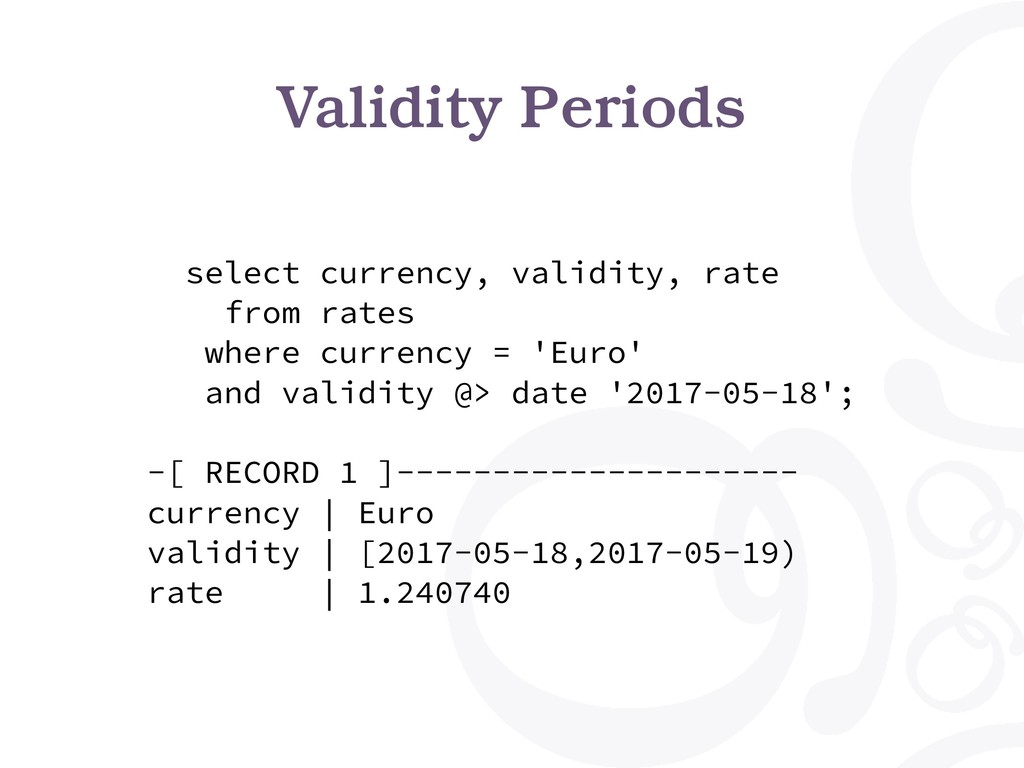 Validity Periods select currency, validity, rat...