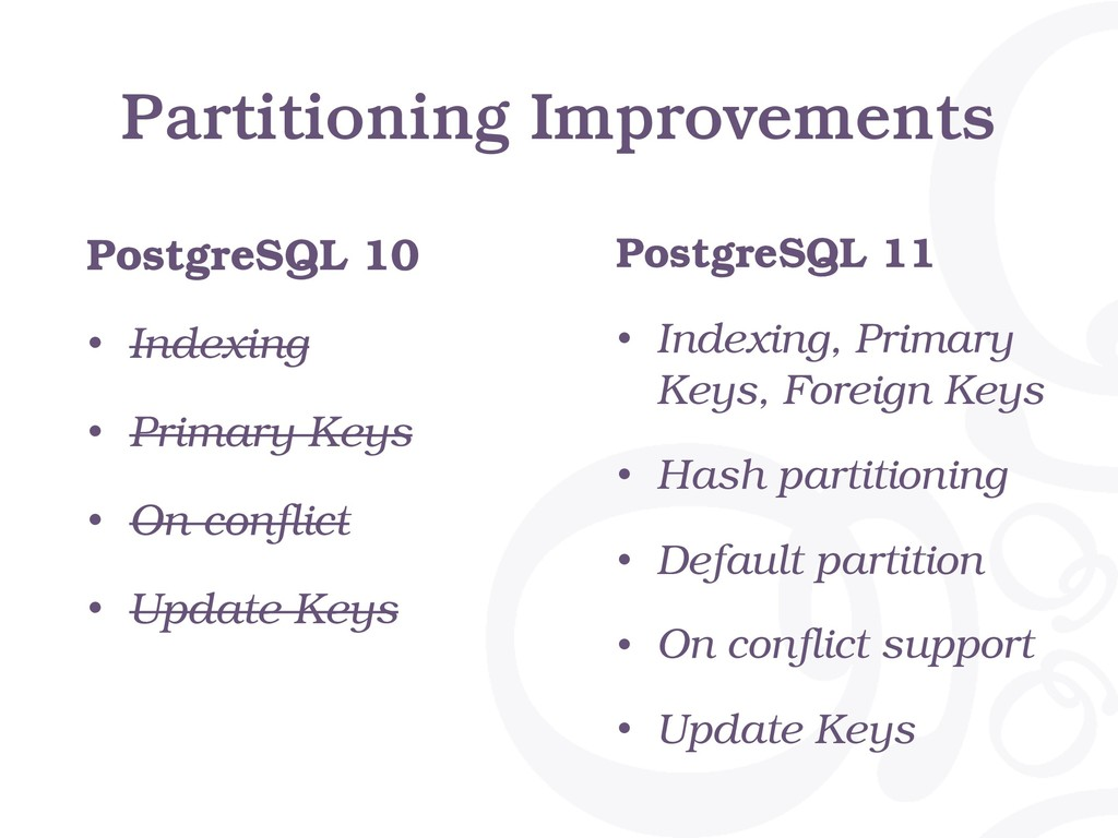 Partitioning Improvements PostgreSQL 10 • Index...