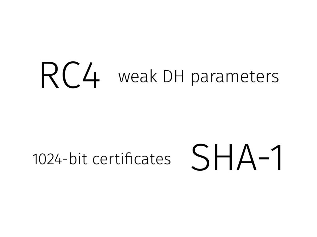 SHA-1 1024-bit certificates RC4 weak DH paramet...