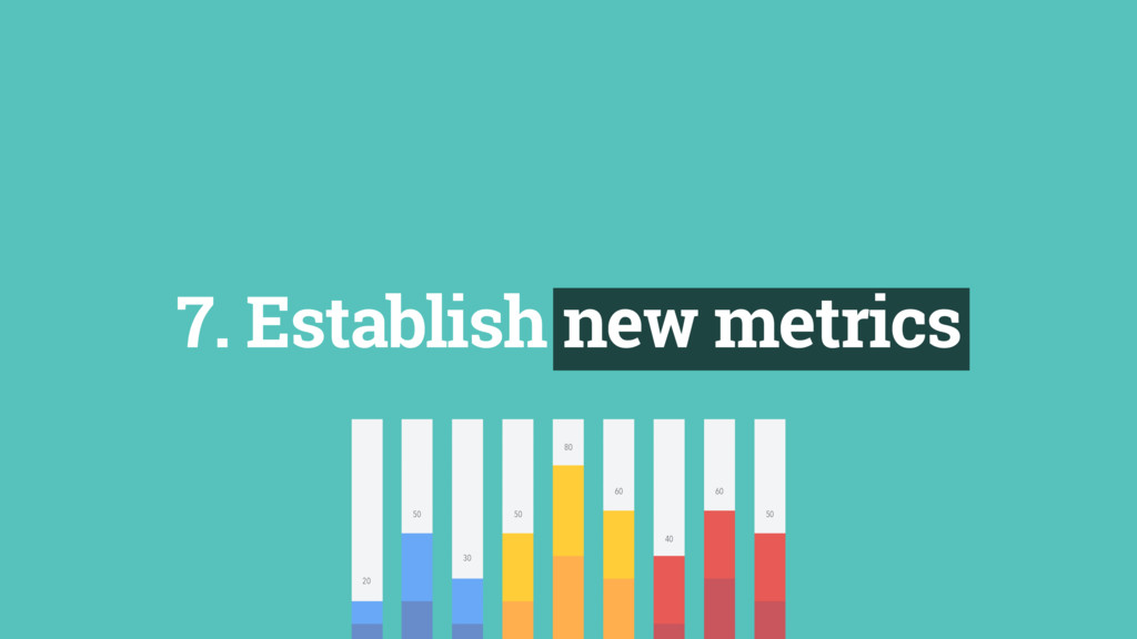 7. Establish new metrics 40 60 50 50 50 80 60 3...