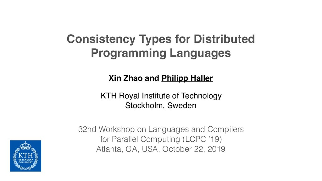 Consistency Types for Distributed Programming L...