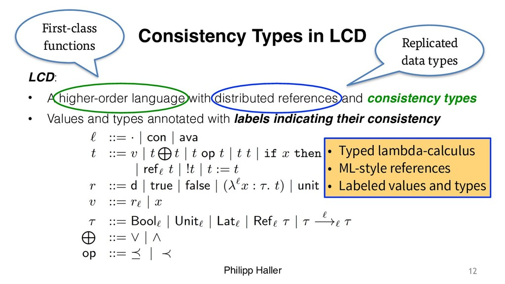 Philipp Haller Consistency Types in LCD LCD: • ...