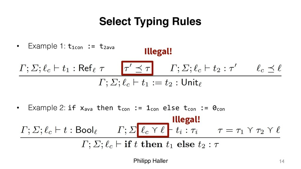 Philipp Haller Select Typing Rules • Example 1:...