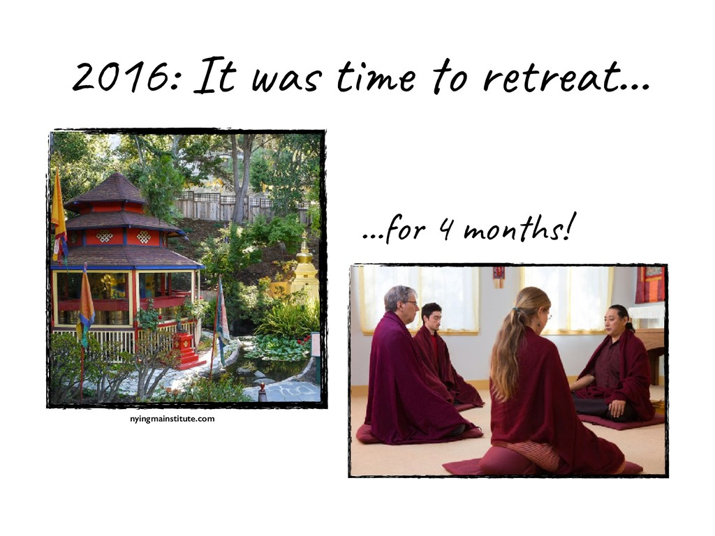 2016: It was time to retreat… …for 4 months! ny...