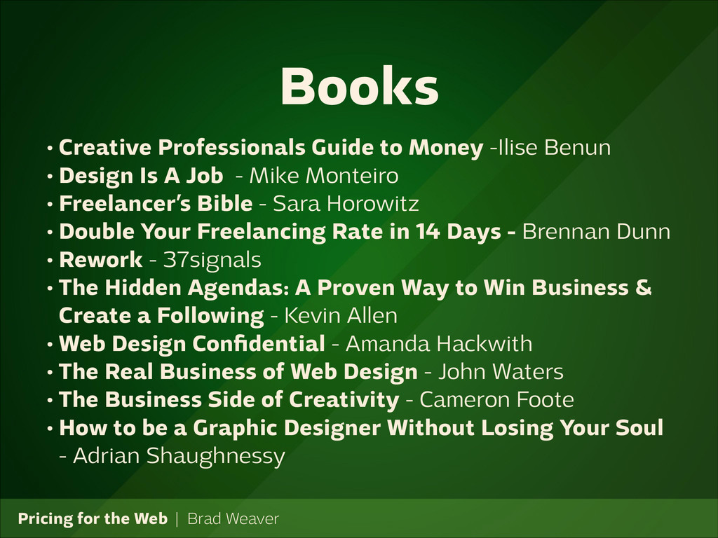 Pricing for the Web   Brad Weaver • Creative Pr...