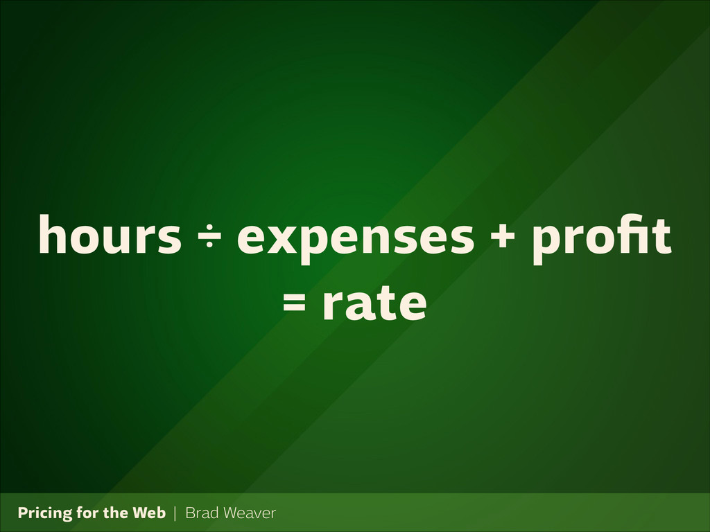 Pricing for the Web   Brad Weaver hours ÷ expen...