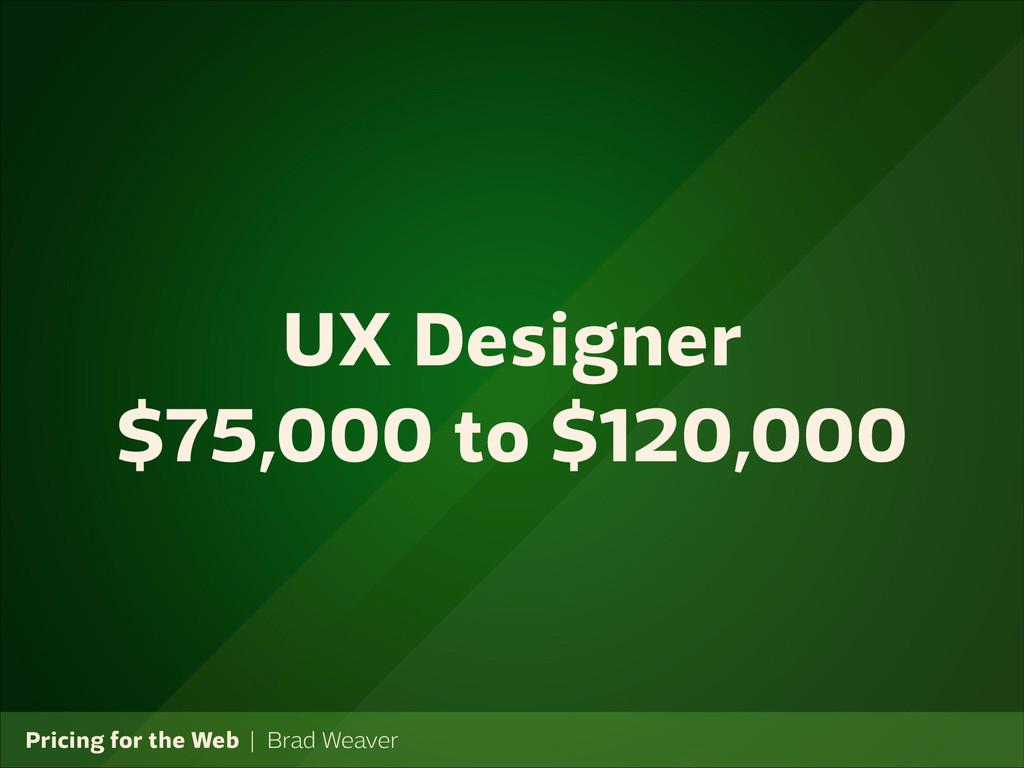 Pricing for the Web   Brad Weaver UX Designer $...