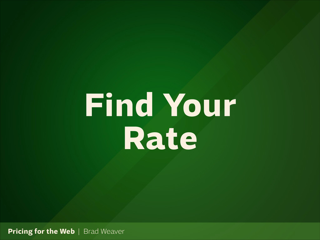 Pricing for the Web   Brad Weaver Find Your Rate